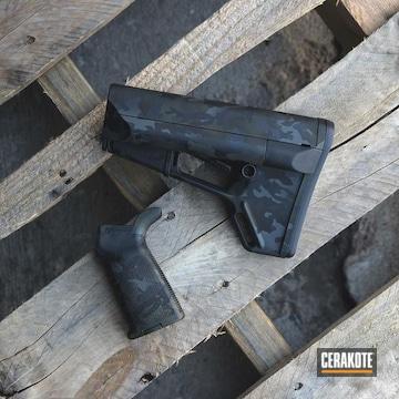 Dark Camo Rifle Stock And Grip Cerakoted Using Sniper Green, Sig™ Dark Grey And Graphite Black