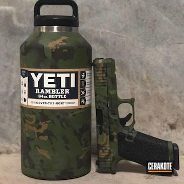Multicam Glock And Yeti Tumbler Cerakoted Using Multicam® Light Green, O.d. Green And Multicam® Olive