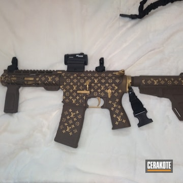 Louis Vuitton Themed Ar Cerakoted Using Chocolate Brown And Gold
