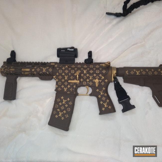 Cerakoted: S.H.O.T,AR Pistol,Custom,Louis Vuitton,.223 Wylde,Gold H-122,Chocolate Brown H-258,AR-15