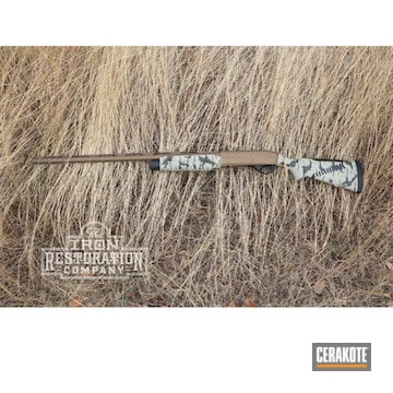 Custom Camo Benelli Cerakoted Using Desert Sage, Graphite Black And O.d. Green