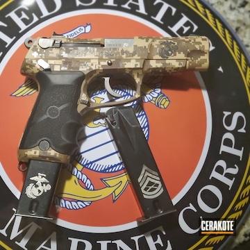 Digicam Ruger Pistol Cerakoted Using Armor Black, Patriot Brown And Desert Sand