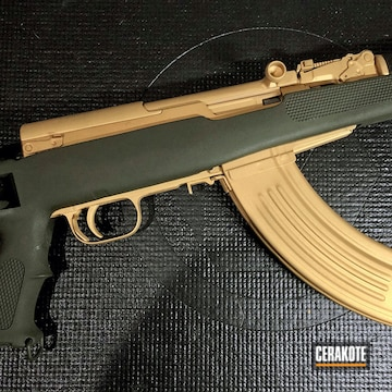 Sks Cerakoted Using Gold And Mil Spec O.d. Green
