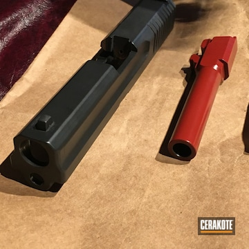 Pistol Slide And Barrel Cerakoted Using Crimson And Blackout