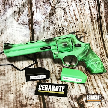 Taurus Revolver Cerakoted Using Parakeet Green And Graphite Black