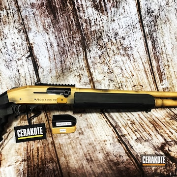 Mossberg 930 Cerakoted Using Graphite Black And Gold