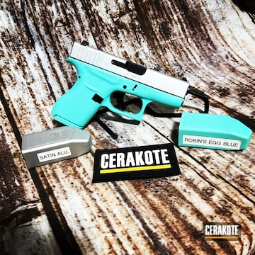 Glock 42 Cerakoted Using Satin Aluminum And Robin's Egg Blue