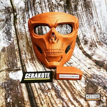 Skull Mask Cerakoted Using Tequila Sunrise