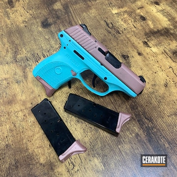 Ruger Pistol Cerakoted Using Rose Gold And Robin's Egg Blue