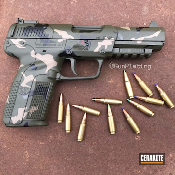 Custom Camo Fn Pistol Cerakoted Using O.d. Green, Graphite Black And Magpul® Flat Dark Earth