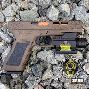 Glock 19 Cerakoted Using Graphite Black And Burnt Bronze