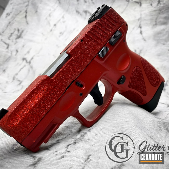 Cerakoted: S.H.O.T,9mm,Glitter Gun,#red,Glitter Glock,#hesselingandsons,HABANERO RED H-318,Glock,CCW,Ladies,G2C