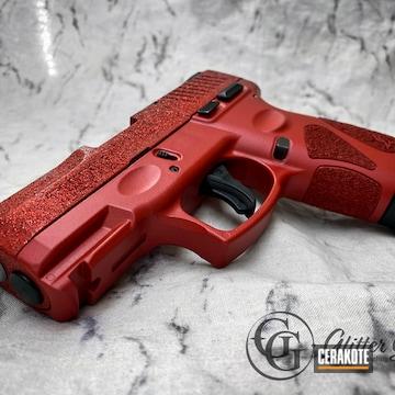 Custom Glittered Glock Cerakoted Using Habanero Red