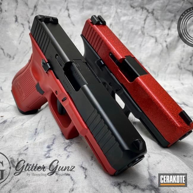 Cerakoted: S.H.O.T,Glock 19,9mm,Glitter,Glitter Glock,HABANERO RED H-318,Glock,CCW,Red,Ladies