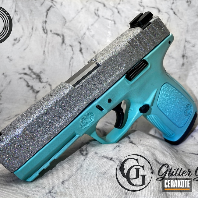 Cerakoted: S.H.O.T,9mm,Glitter Gun,Glitter,Robin's Egg Blue H-175,Smith & Wesson,Silver,SD9VE,Satin Aluminum H-151,Hesseling and Sons,CCW