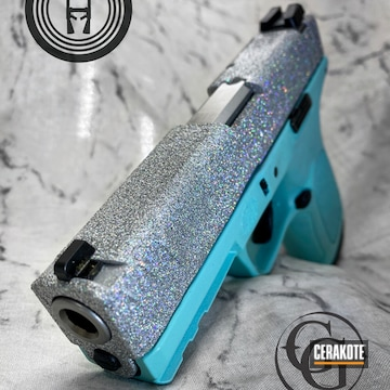 Glittered Smith & Wesson Sd9 Ve Cerakoted Using Satin Aluminum And Robin's Egg Blue