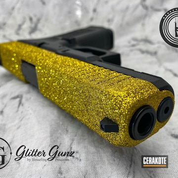 Glittered Glock 17 Cerakoted Using Gold