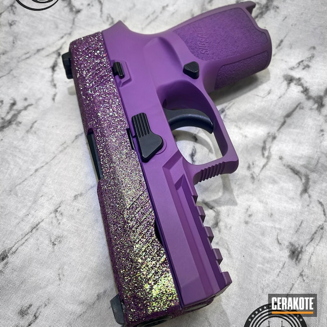 Cerakoted: S.H.O.T,9mm,Glitter Gun,Glitter,Bright Purple H-217,P320,Sig Sauer,Hesseling and Sons,Purple,CCW,Ladies