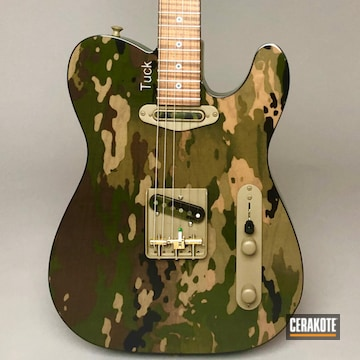 Multicam Electric Guitar Cerakoted Using Patriot Brown, Graphite Black, Highland Green And Mcmillan Tan