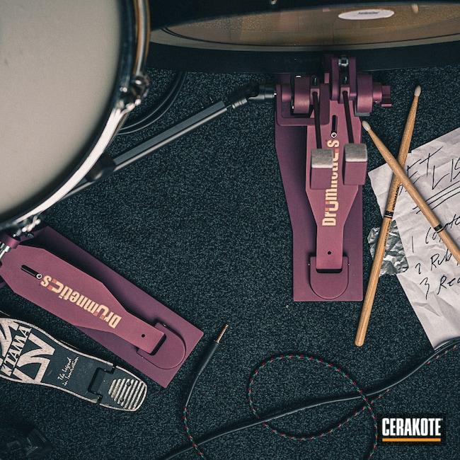 Cerakoted: Pedals,BLACK CHERRY H-319,Music,drum set,Drums,Musical Instrument