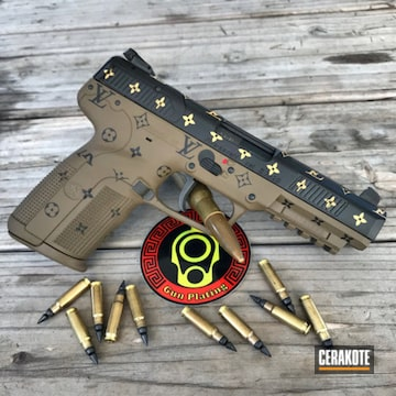 Louis Vuitton Themed Fn Five-seven Cerakoted Using Glock® Fde, Graphite Black And Gold