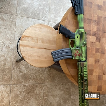 Ar Build Cerakoted Using Zombie Green, Graphite Black And Firehouse Red
