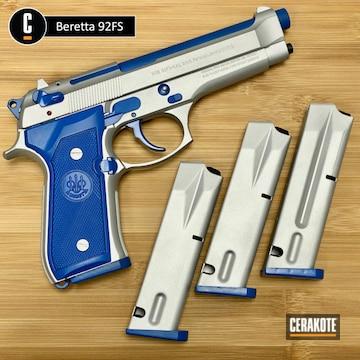 Beretta 92fs Cerakoted Using Satin Aluminum And Nra Blue