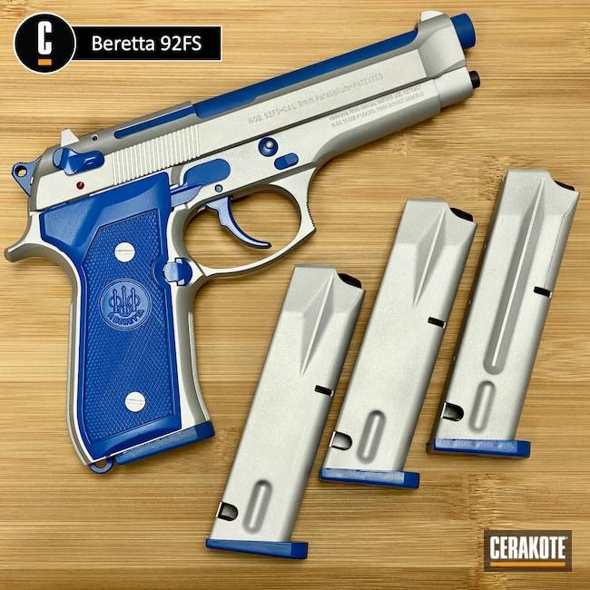 Cerakoted: S.H.O.T,NRA Blue H-171,Satin Aluminum H-151,Beretta,92FS,Guns,Fortnite,Handgun