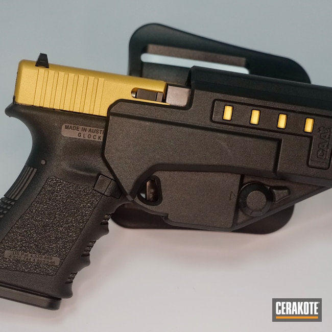 Cerakoted: S.H.O.T,Glock 19,9mm,Glock,Guns,Gold H-122