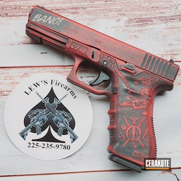 Deadpool Themed Glock 17 Cerakoted Using Graphite Black And Ruby Red
