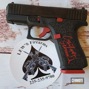 Glock 43x Cerakoted Using Graphite Black And Ruby Red