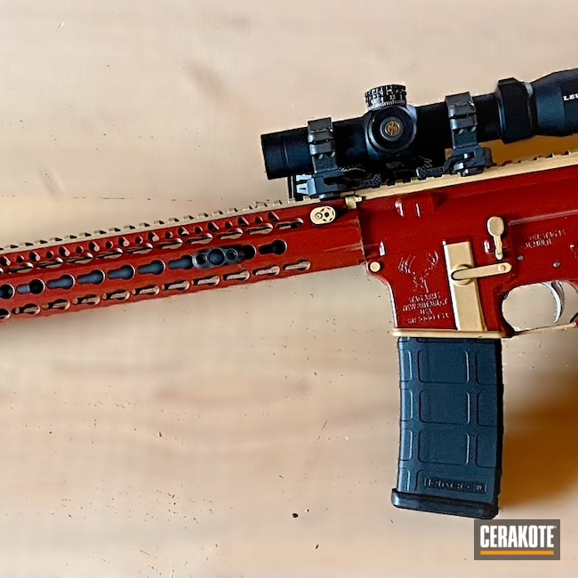 Cerakoted: S.H.O.T,ironman,Stag Arms,Crimson H-221,Marvel Comic,5.56,Gold H-122,Iron Man,AR-15,BCM