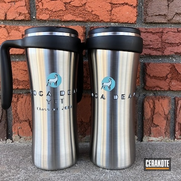Tumblers Cerakoted Using Snow White, High Gloss Ceramic Clear And Graphite Black