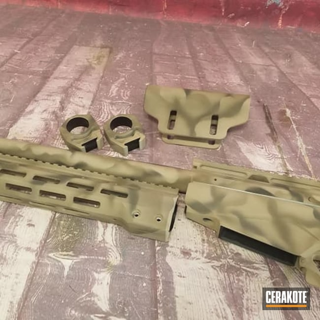 Cerakoted: S.H.O.T,Rifle,Bolt Action Rifle,MAGPUL® FLAT DARK EARTH H-267,Graphite Black H-146,Desert Sand H-199,Firearm,O.D. Green H-236,.308,Tikka,Custom Camo,Tikka T3x
