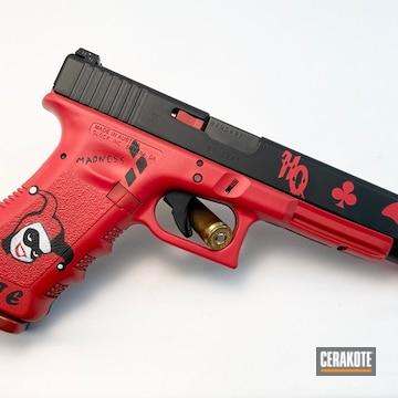 Harley Quinn Themed Glock 24 Cerakoted Using Bright White, Usmc Red And Graphite Black