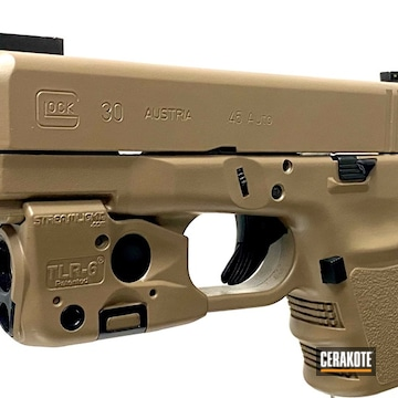 Glock 30 Cerakoted Using M17 Coyote Tan And Blackout
