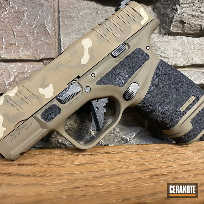 Cerakoted: S.H.O.T,9mm,MultiCam,Mud Brown H-225,Desert Sand H-199,Pistol,Springfield Armory,Hellcat,Flat Dark Earth H-265