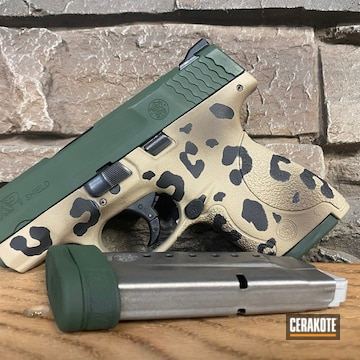 Leopard Print Smith & Wesson M&p Shield Cerakoted Using Mud Brown, Desert Sand And Jesse James Eastern Front Green