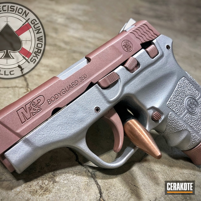 Cerakoted: S.H.O.T,M&P,Rose Gold,Pistol,S&W,S&W M&P 9mm,Custom Pistol,9mm,Custom,Smith & Wesson,M&P Bodyguard 380,Satin Aluminum H-151,ROSE GOLD H-327