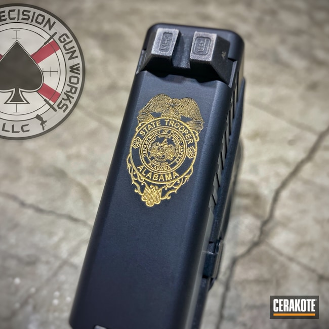 Cerakoted: S.H.O.T,Laser Engraving,G22,Pistol,.40,Gold H-122,Handgun,Color Fill,Graphite Black H-146,Glock,Laser Imaging,Laser Engraved,Glock 22,State Trooper,Police Badge,Badge