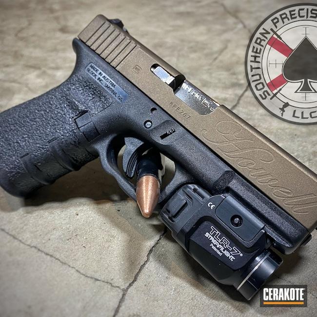 Cerakoted: S.H.O.T,Burnt Bronze H-148,Pistol,Glock,Glock 23,Laser Engraved,Laser Engrave,.40,Handgun