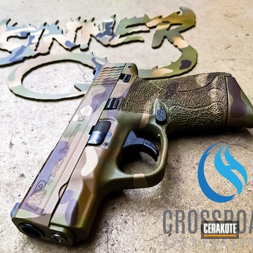 Multicam Smith & Wesson M&p Shield Cerakoted Using Multicam® Dark Brown, Desert Sand And Chocolate Brown
