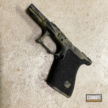 Glock 19 Frame Cerakoted Using Platinum Grey, Parakeet Green And Graphite Black