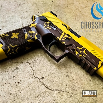 Louis Vuitton Themed Sig Sauer P320 Cerakoted Using Chocolate Brown And Gold