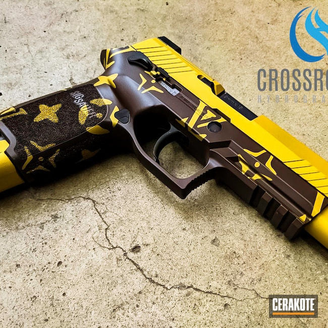 Cerakoted: S.H.O.T,P320,Sig Sauer,Louis Vuitton,Gold H-122,Chocolate Brown H-258