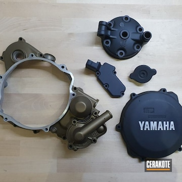 Yamaha Motorcycle Engine Parts Cerakoted Using Burnt Bronze, Cerakote Glacier Black And Cerakote Glacier Silver