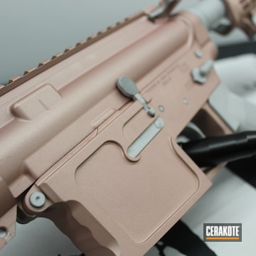 Custom Ar Cerakoted Using Rose Gold And Crushed Silver