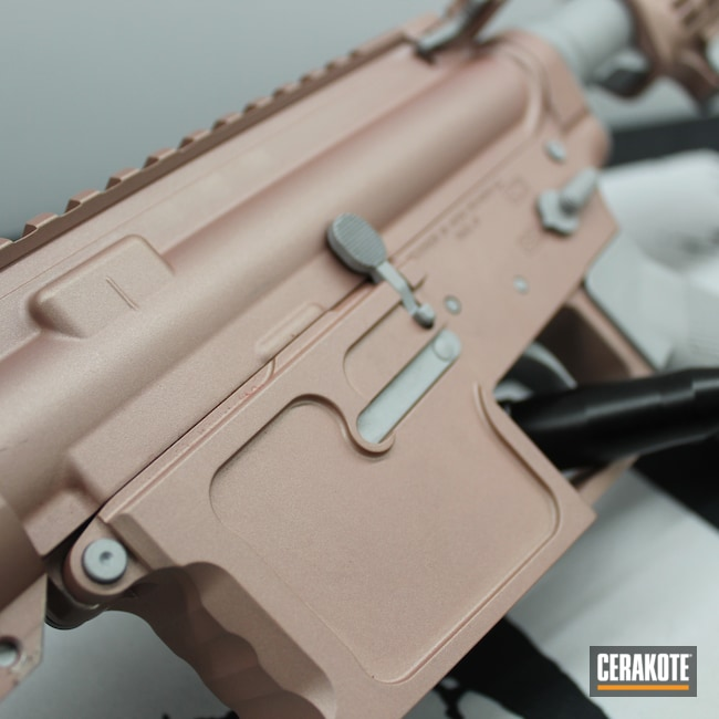 Cerakoted: Rifle,AR,BA15,Crushed Silver H-255,.223,ROSE GOLD H-327,5.56,AR-15,Ladies