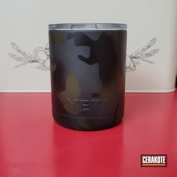 Custom Camo Yeti Tumbler Cerakoted Using Sniper Green, Sig™ Dark Grey And Graphite Black