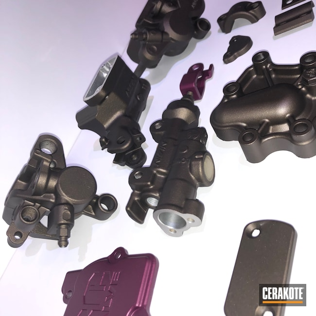 Cerakoted: Motorcycles,Motorcycle Parts,Armor Black H-190,Automotive,Midnight Bronze H-294,Honda